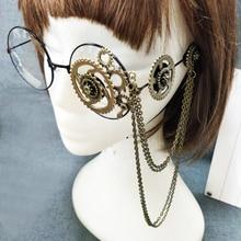 Retro Frauen Runde Steampunk Brille Rahmen Damen Lolita Getriebe Kette Dekoration Brillen Punk Gothic Cosplay Zubehör Halloween