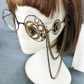 Retro-Women-Round-Steampunk-Glasses-Frame-Ladies-Lolita-Gears-Chain-Decoration-Eyewear-Punk-Gothic-Cosplay-Accessories