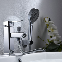 Bathroom Shower Basin Faucet Set With Hand Head Toilet Taps Mixer Tap Deck Mounted Sink