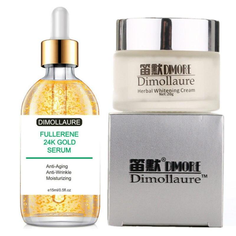 Dimollaure Whitening Freckle Cream+Fullerene 24k Gold Serum Anti-aging Wrinkle Serum Removal Melasma Sunburn Brown Spot Melanin