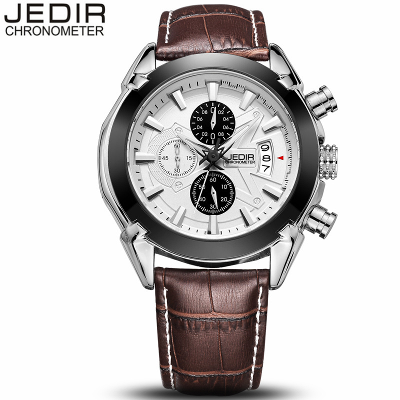 JEDIR Fashion Leather Sports Quartz Watch for Man Military Chronograph Luminous Wrist Watches Men Army Style Relogio Masculino simfer b6em13001