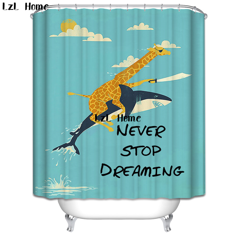 LzL Home Blue Sea And Marine Life Shower Curtain Bathroom Decor Waterproof Ocean Curtains High Quality In From