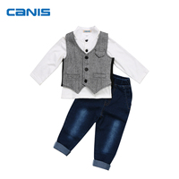 CANIS Brand Clothes Set Toddler Kids Boy Formal Suit Waistcoat Denim Pants Tuxedo Party Outfits 0