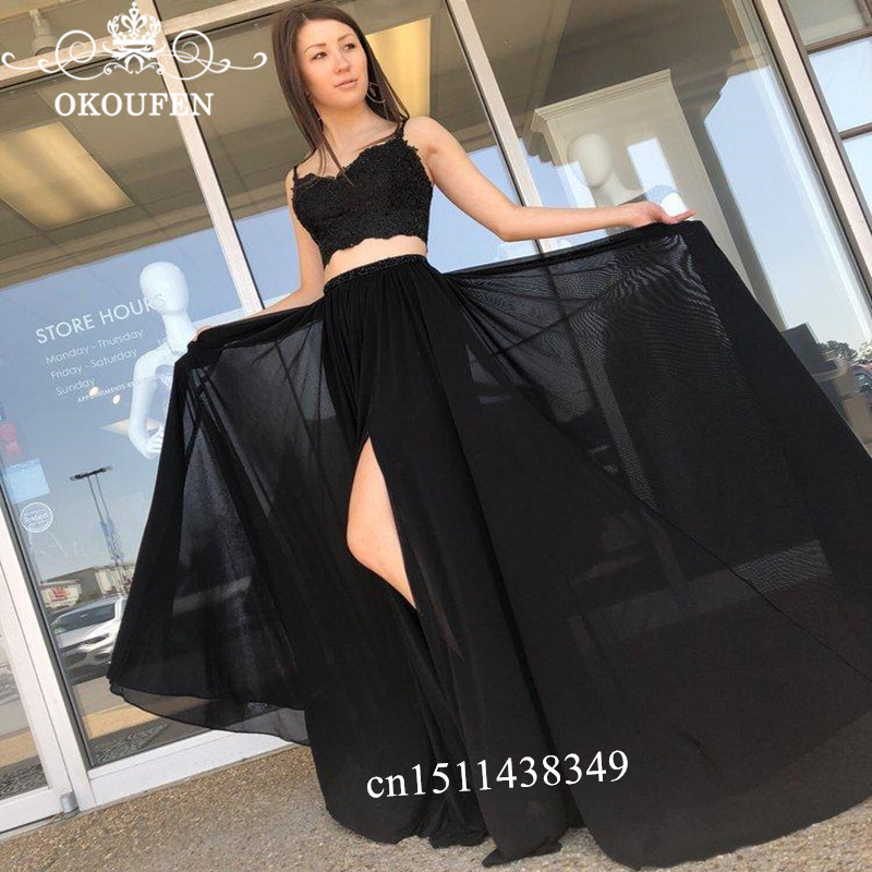 Black Two Piece Crop Top   Prom     Dresses   For Women 2019 Lace Top and Chiffon Skirt Side Split Long Evening   Dress   Robe De Soiree