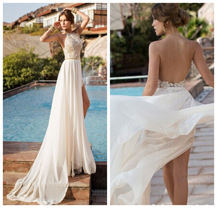 2014 Modest Halter Julie Vino Orchid Collection Backless Lace/Chiffon High Slit Short Front Long Back Wedding Dress - Mona Lisa wedding dress store