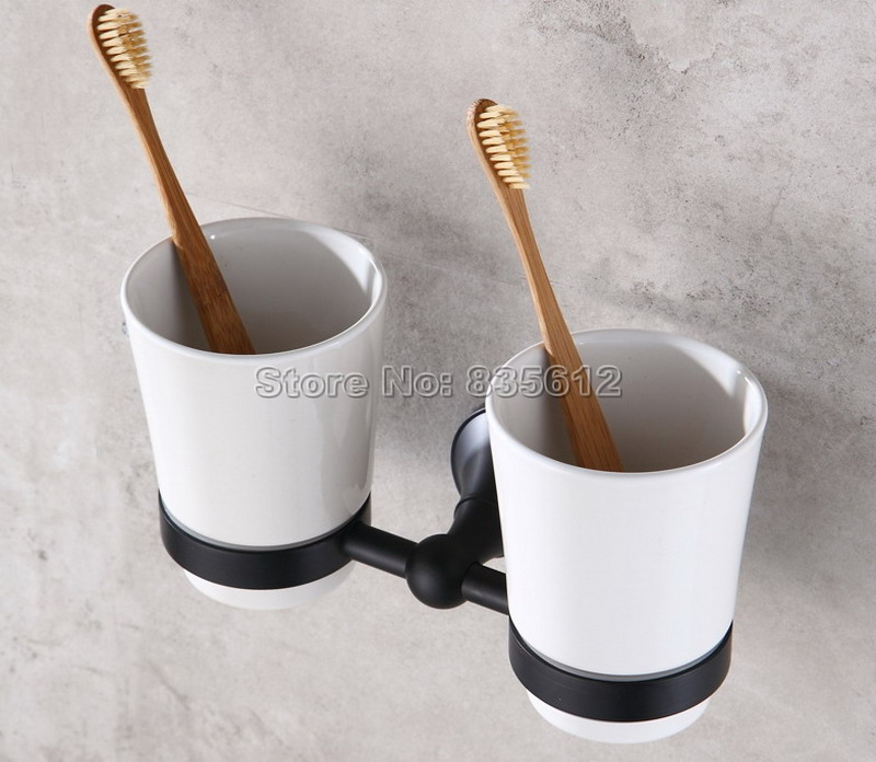 Black Oil Rubbed Bronze Wall Mounted Toothbrush Holder with Two Ceramic Cups Set Bathroom Accessories Wba859 black oil rubbed bronze wall mounted toothbrush holder with two ceramic cups wba472