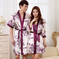Women Fashion Floral Silk Satin Robe&Gown Set Sexy Nightdress Robe Set Or Men Half Sleeve Robe Bathrobe For Summer