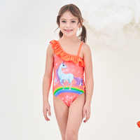 2019 New Baby Girls Swimsuit Kids One Piece Swimwear Rhinestones Unicorn Bodysuit Child Beachwear Sports Swim Suit Bathing Suit