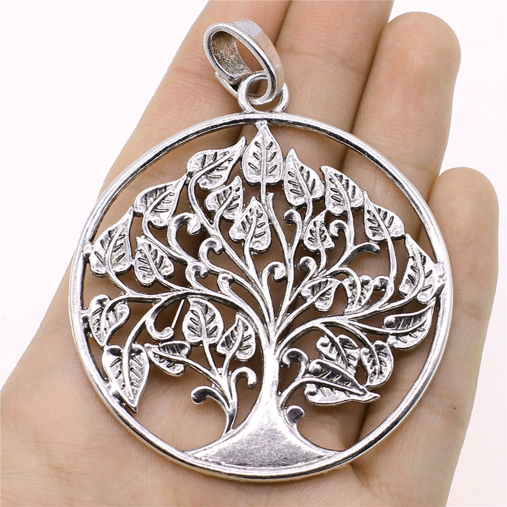 WYSIWYG Life Tree Charms Pendant DIY Jewelry Findings Antique Silver Tone 62x81mm 1pcs/lot