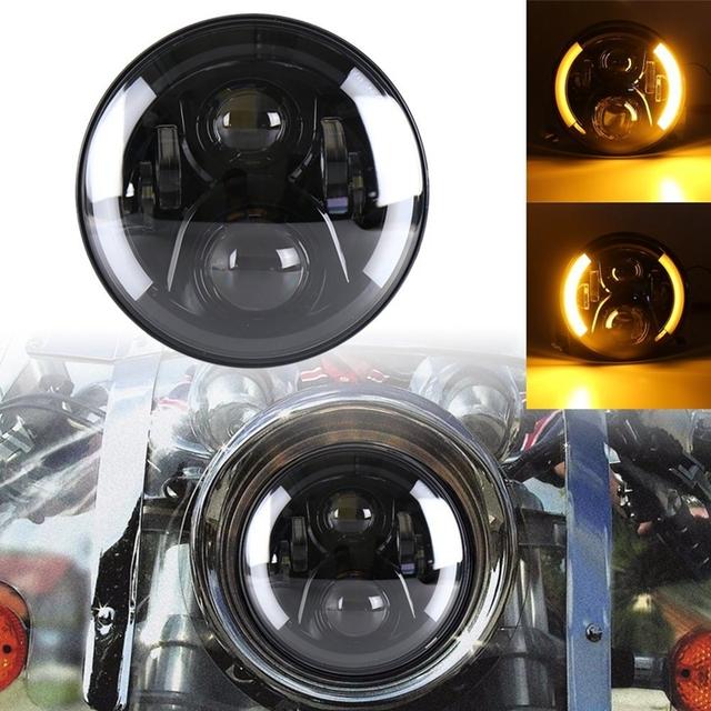 Universal 7″ Led Car Motorcycle Headlight H4 Phare Farol Moto Headlamp Head Light For BMW Softail Cafe Racer Chopper Honda