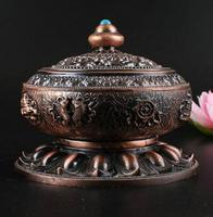 Exquisite Chinese Copper Alloy Eight Auspicious Symbols Of Buddhism Incense Burner/Censer
