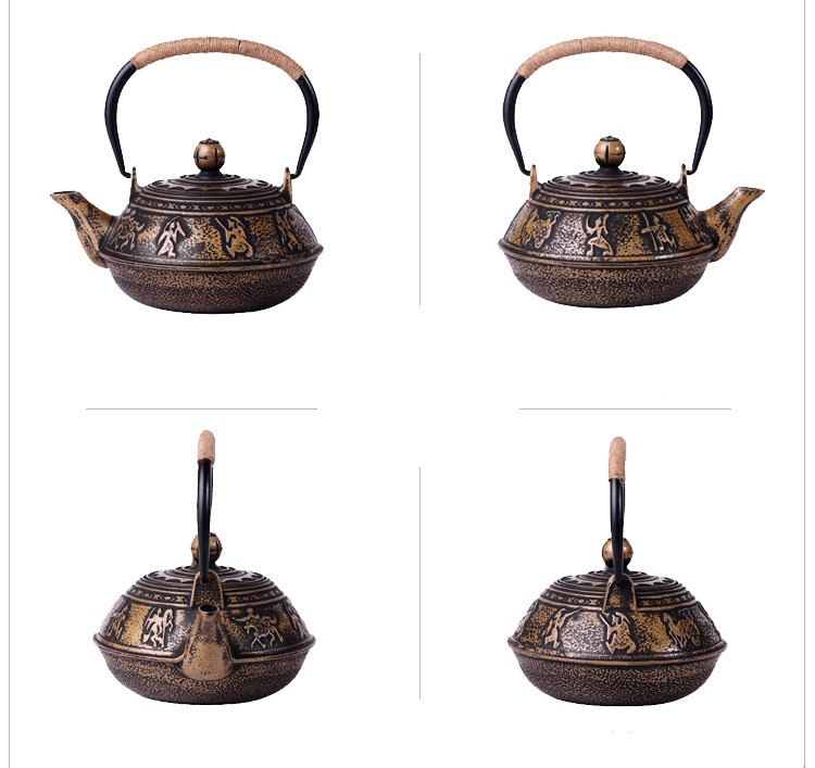 New 7 Chioces Cast Iron Teapot Set Japanese Tea Pot Tetsubin Kettle Enamel 900ml Kung Fu Infusers Metal Net Filter Cooking Tools 11