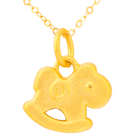 24K Yellow Gold Pendant 3D 999 Yellow Gold Horse Necklace Pendant Cute Baby Gift P6202