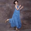 Женщины Лето Dress Сплошной Цвет Рукавов Хлопок Белье Dress О Шея Свободные Старинные Негабаритных Макси Dress Casual Женщины Long Dress