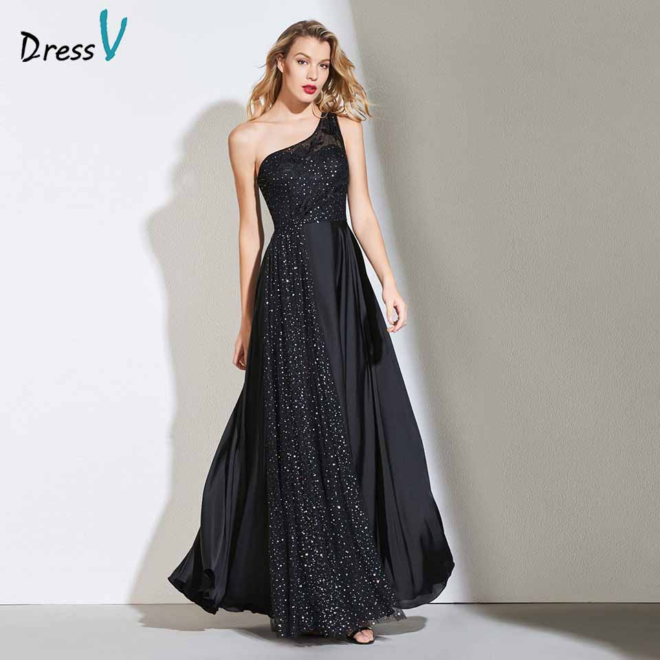 Dressv black a line   prom     dress   sleeveless appliques backless one shoulder floor length evening party evening gown   prom     dresses