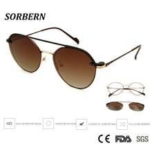 9e8db64226a52 SORBERN rétro rond Steampunk cadres optiques femmes hommes lunettes avec  aimants Clip sur lunettes de soleil UV400 lunettes lumi.