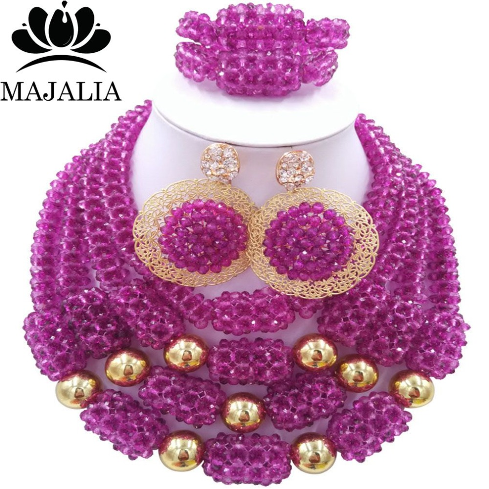 купить Fashion african wedding beads Purple nigerian wedding african beads jewelry set Crystal Free shipping Majalia-332 по цене 4149.89 рублей