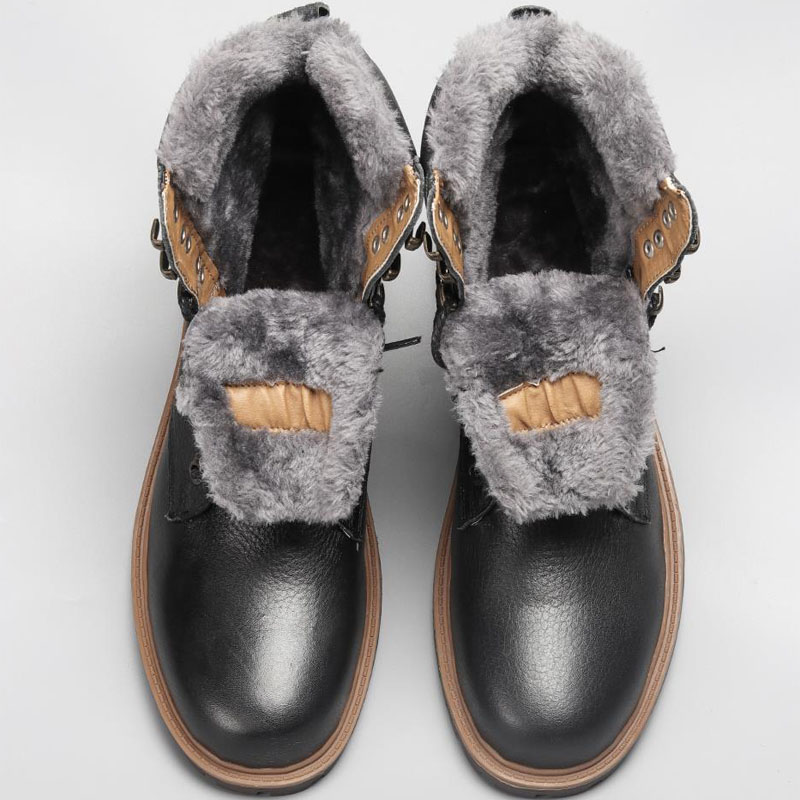 YIQITAZER Top Quality Cow Leather Men Shoes Snow Boots 2018 Winter Genuine Leather Handmade Brand Warmest Men Winter Wool Shoes
