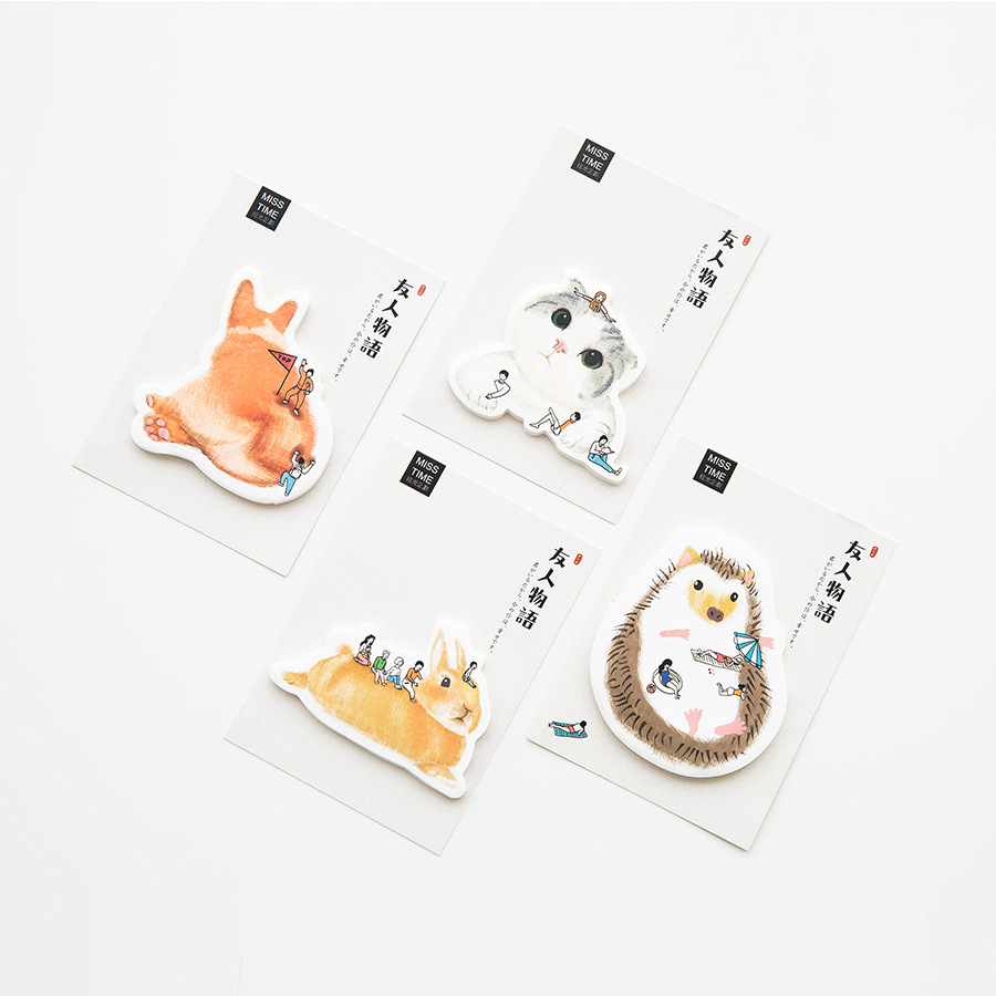 30Pcs/Pack Friend Story Cat Rabbit Hedgehog Sticky Post It N Times Memo Pad Notebook Student Sticky School Label Gift M0319
