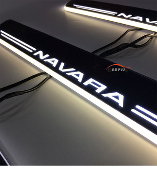 welcome pedals LED light NAVARA door sill with LED Door sill for 2015 2016 body molding blue colour led Stainless Steel Free