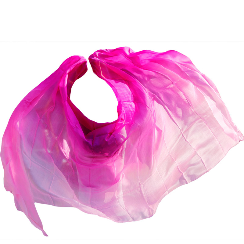 100% Silk Belly Dance Veil Belly Dance Shawl Scarf Gradient Rose+Pink+Light Pink Handmade Dyed Belly Dance Silk Veils 250*114 Cm