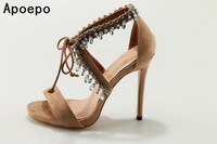 Luxury Women Shoes High Heel Sandals Lace Up Heels Open Toe Crystal Embellishment Laides Party Nude