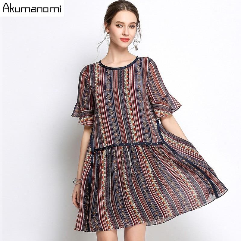 Summer Striped Chiffon Dress Women Clothing Beading O-neck Flare Half Sleeve Dress High Quality Plus Size 5XL 4XL 3XL 2XL XL L M(China)