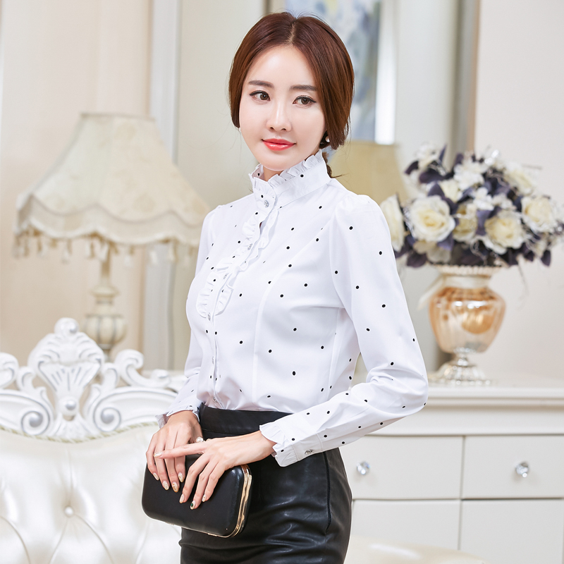 Plus Size 4XL 5XL Formal Shirt Women Clothes Long Sleeve Stand Collar  Ruffles Blouse Elegant OL Office Ladies Work Wear Tops-in Blouses   Shirts  from ... 389b24780c04
