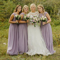 Lilac Long Bridesmaid Dresses 2017 Vintage Lavender Lace Top Cap Sleeve Graceful Wedding Party Gowns Cheap Maid of Honor Dress