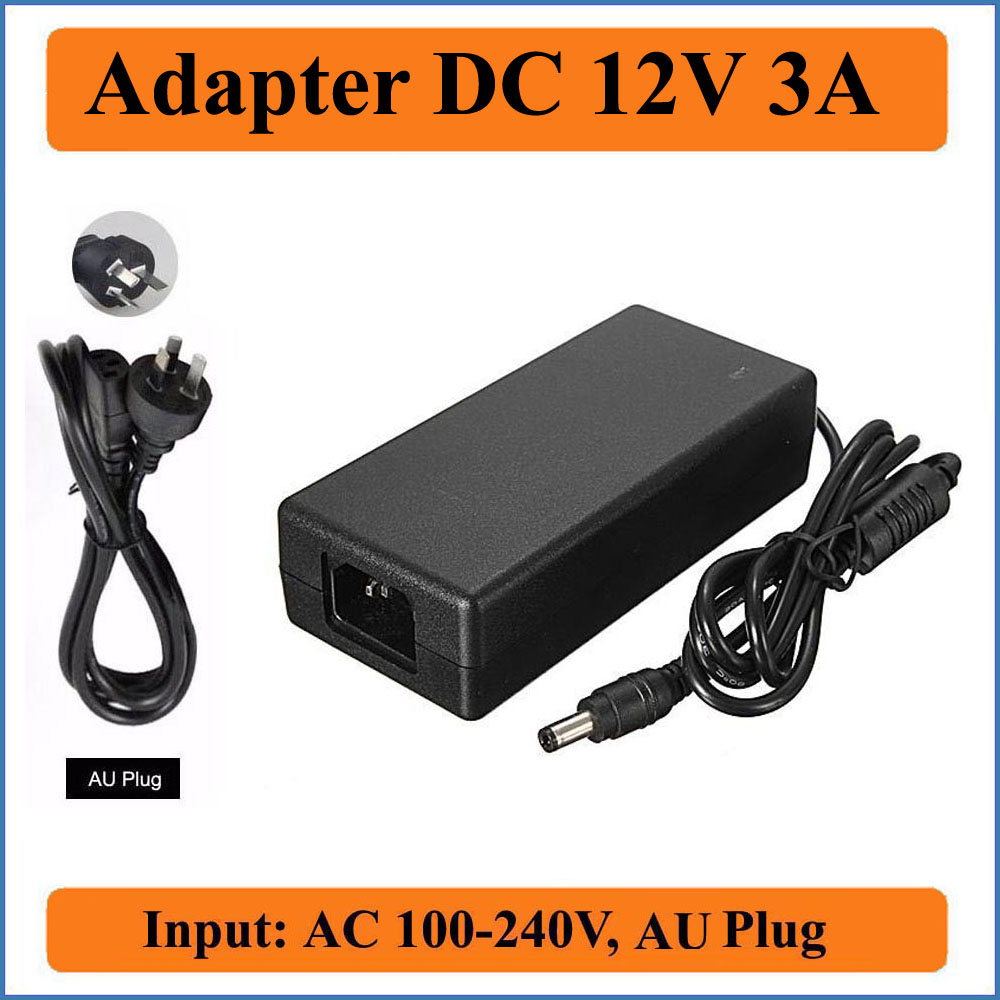 12V 3A AU Plug AC DC Adapter AC 100-240V to DC 12V 3000mA 36W Power Supply Charger For LED Strip Lights/CCTV Camera/LCD monitors