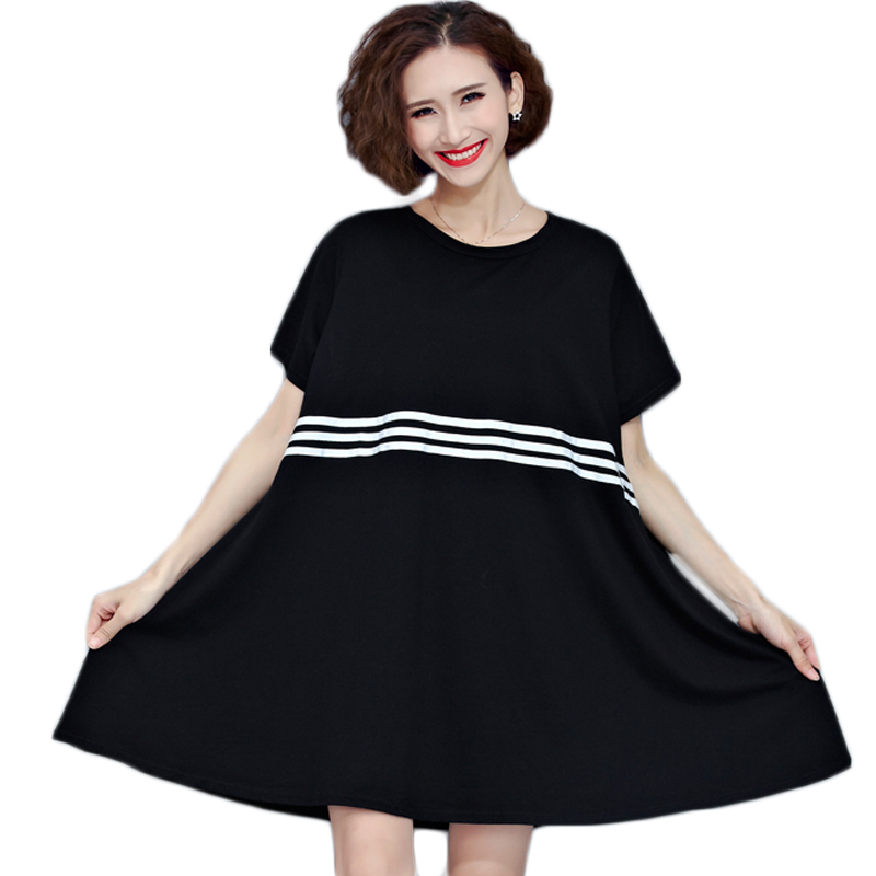 T Shirt Dress Women Plus Size Plain Simple Crew Neck T