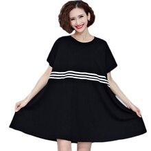 T Shirt Dress Women Plus Size Plain Simple Crew Neck T-Shirt Dress Womens Summer Loose Black Tshirt Swing Dress 2017 XH055