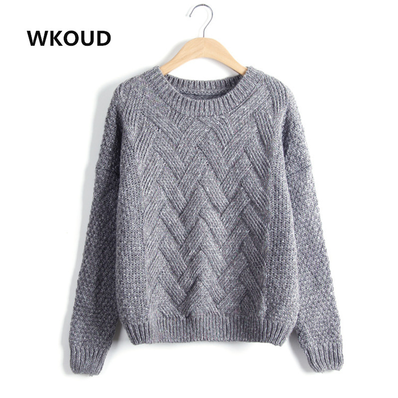 WKOUD Women Knitted Pullover Candy Colors Design Sweaters O-neck Short Style Female Sweater Spring Autumn Casual Knitwear M8002
