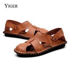 YIGER NEW Men Sandals Genuine Leather Summer Casual Slip-on Loafers Male Retro Beach Rome style  0072