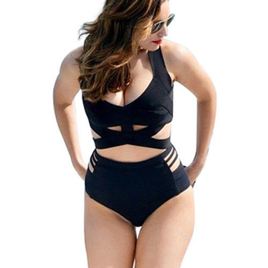 2016 vintage swimsuit bandage high waisted bikinis cut out ...