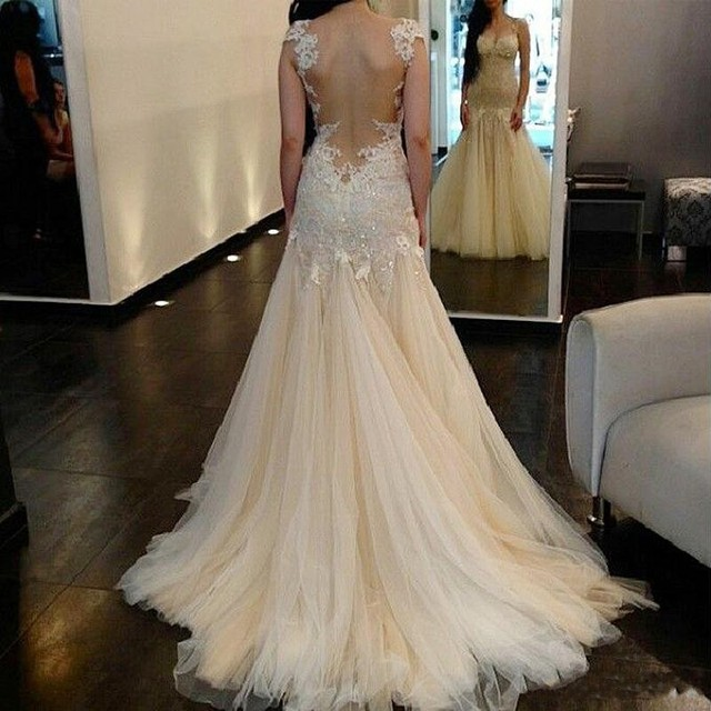 Vestido De Noiva 2015 Sexy Backless Mermaid Wedding Dress Tulle Lace Unique Bridal Dresses Runway New Robe De Marriage