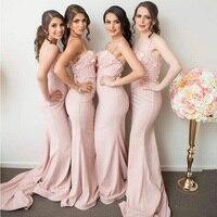 Розовый Русалка Аппликации невесты атласные платья Милая Спагетти ремень оборками длиной до пола Длина Формальные Платья для вечеринок ин