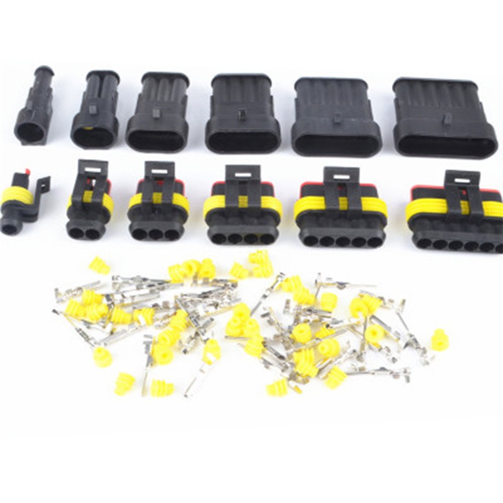 5SET 1Pin/2Pin/3Pin/4Pin/5Pin/6Pin Seal Waterproof Electrical Automotive Wire Connector Plug Terminals For Car
