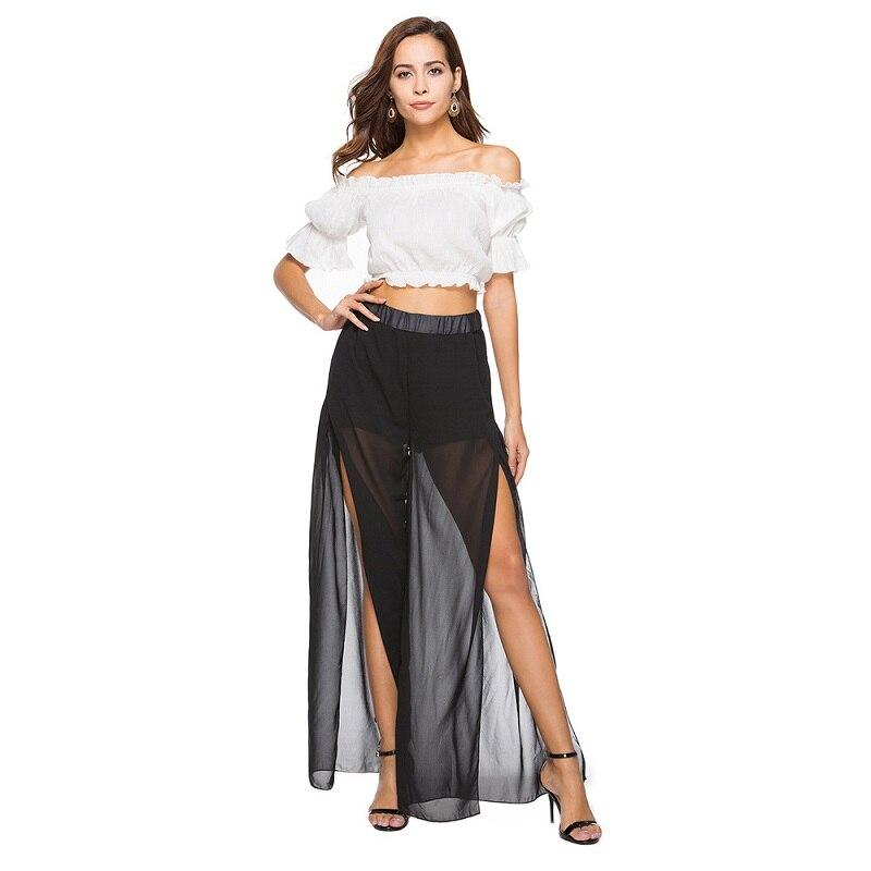 2019 Trousers Women New Striped Print Casual Long Pants Summer Style Elastic Mid Waist Wide Leg Pants Split Beachwear Female in Pants amp Capris from Women 39 s Clothing