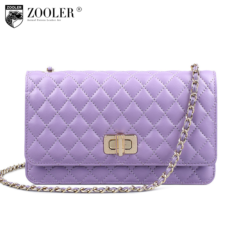 ZOOLER Women Sheepskin Plaid Chains Small Bag Winter 2017 Genuine Leather Shoulder Bags for Women Messenger Bag Bolsa Feminina zooler women genuine leather chain bag female 2017 new winter ruched shoulder messenger bags small sheepskin evening clutch bag