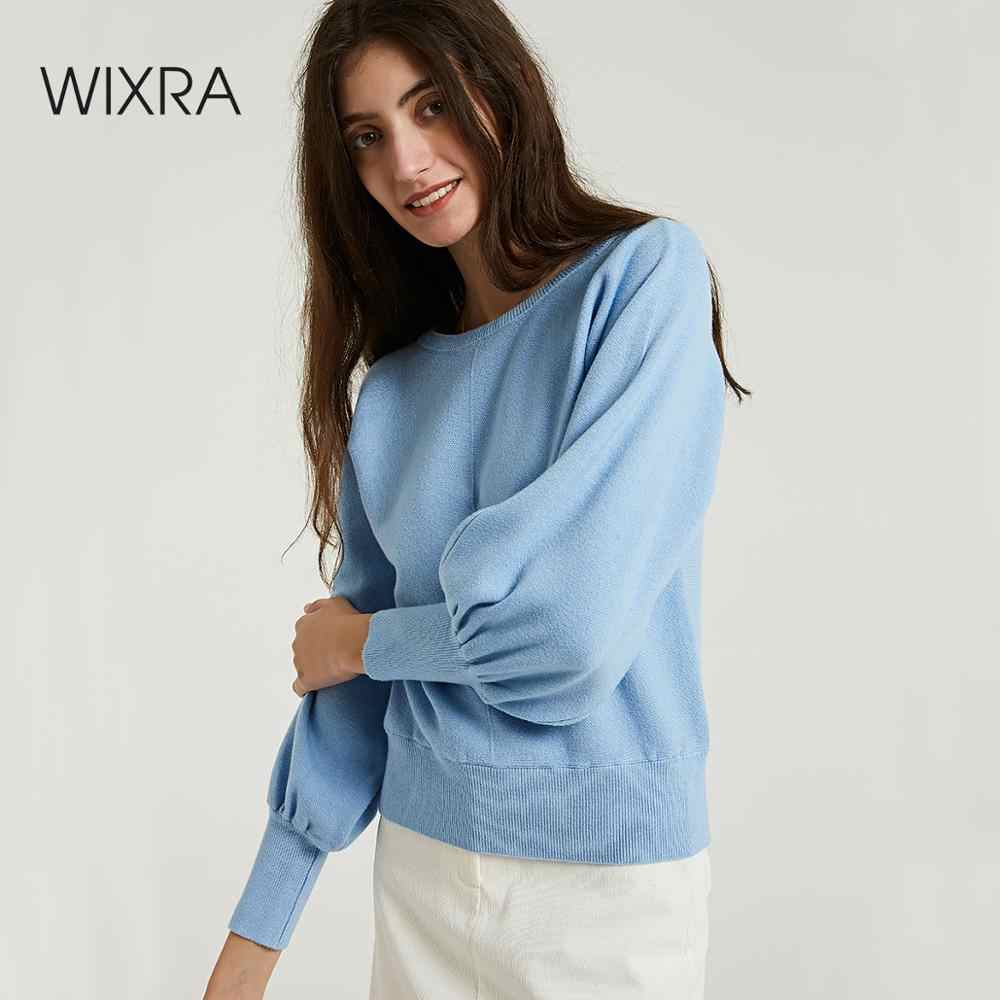 Wixra Warm Sweaters And Pullovers Lantern Sleeve Soft O-neck Ladies Knitted Sweater Women's Jumpers 2019 Autumn Winter