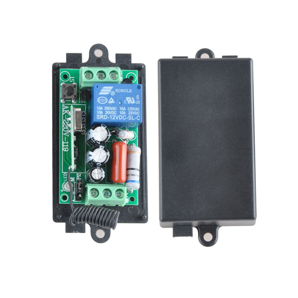 AC220V 1CH 10A 433Mhz Remote Control Light Switch Relay Output Radio Receiver Module + Case Free Shipping