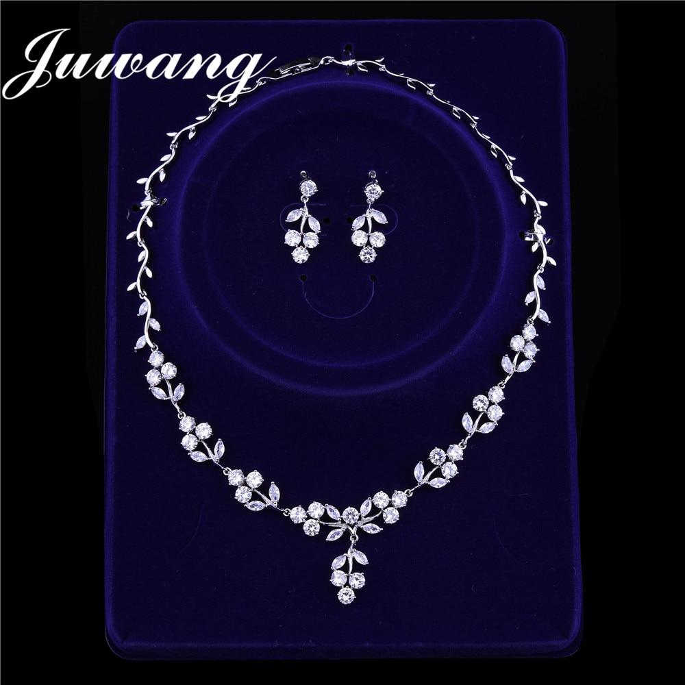 JUWANG Brand  Luxury Bridal Dubai Gold Jewelry Sets CZ Necklace Earrings Costume Jewelry Sets for Women Wedding Engagement Gift