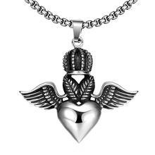Women Crown Heart Statement Necklace Man Feather Angel Wings Cool Charm Pendant Stainless Steel Silver Party Gifts Fine Jewelry