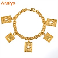 Anniyo 22CM Gold Color Charm Bracelets For Women Trendy Jewelry Of School Girls Teenage Bangle Gifts