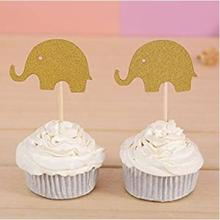 100pcs Gold Elephant Cupcake Toppers Baby Shower Birthday Party Decors