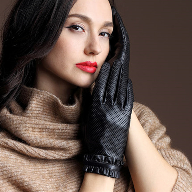 2018 New Ladies Leather Gloves Goatskin Punch Driving Comfortable Thin Silk Gloves Female Factory Outlet 36-5