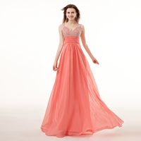 100% Real Picture Coral Prom Dress New Design Cheap Beaded Crystal Backless Long Formal Party Gown Plus Size Robe De Bal Longue