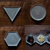Concrete Silicone Mold Geometric Design Tray Diy Round Hexagon Shaped Cement Candle Tray Storage Flower Pot Base Mold