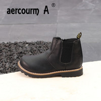 Aercourm A Fall Spring Children Martin Boots Boys Girls Non Slip Genuine Leather Boots Children Solid
